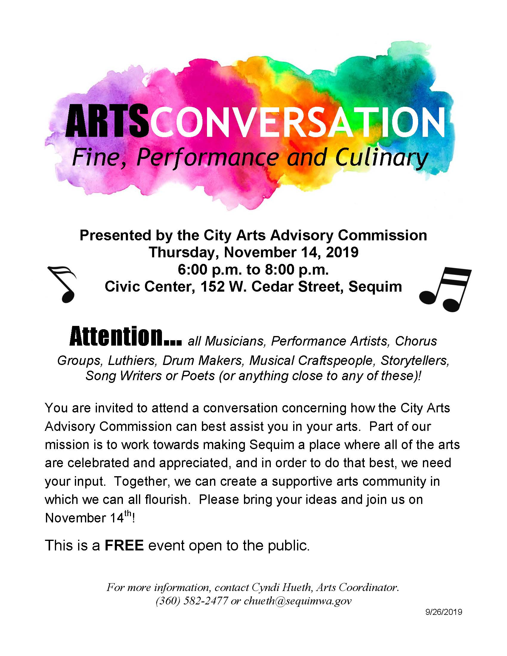 Arts Conversation 11142019 flyer